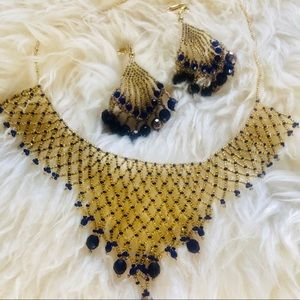 Gold and Blue bead mesh Necklace EUC Likr New